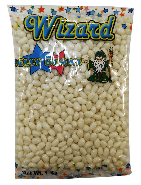 Wizard Mini Jelly Beans - White with Coconut Flavour, by Wizard,  and more Confectionery at The Professors Online Lolly Shop. (Image Number :8460)