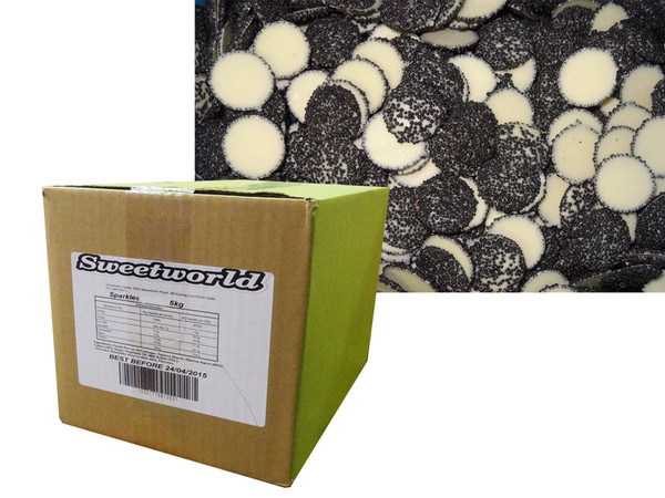 Sweetworld - White Choc Sparkles - Black, by Sweetworld,  and more Confectionery at The Professors Online Lolly Shop. (Image Number :6100)