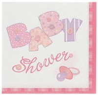 Luncheon Napkins - Baby Pink Stitching, by Meteor,  and more Partyware at The Professors Online Lolly Shop. (Image Number :5699)