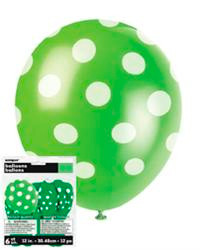 Balloons - Lime Green with White Dots, by Meteor,  and more Partyware at The Professors Online Lolly Shop. (Image Number :5765)