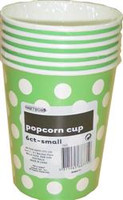 Popcorn Cups - Lime Green with White Dots, by Meteor,  and more Partyware at The Professors Online Lolly Shop. (Image Number :5783)