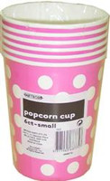 Popcorn Cups - Hot Pink with White Dots (6 paper cups each 14h x 11.5w cm)