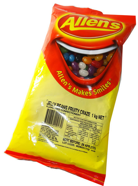 Allens Jelly Beans Fruity Craze, by Allens Confectionery,  and more Confectionery at The Professors Online Lolly Shop. (Image Number :5846)