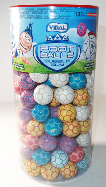 Vidal Football - Soccer- Shaped Gum Balls, by vidal,  and more Confectionery at The Professors Online Lolly Shop. (Image Number :6026)