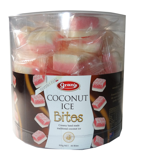 Gran s Coconut Ice Bites, by Grans,  and more Snack Foods at The Professors Online Lolly Shop. (Image Number :6064)