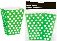 Treat Boxes - Lime Green with White Dots, by Meteor,  and more Partyware at The Professors Online Lolly Shop. (Image Number :5963)