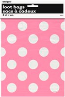 Loot Bags - Hot Pink with White Dots, by Meteor,  and more Partyware at The Professors Online Lolly Shop. (Image Number :5987)