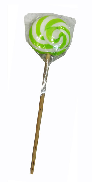 Round Light Green and White Lollipop, by Designer Candy,  and more Confectionery at The Professors Online Lolly Shop. (Image Number :9540)
