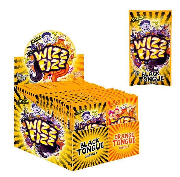 Wizz Fizz - Black & Orange Tongue Sherbet, by Fyna Foods,  and more Confectionery at The Professors Online Lolly Shop. (Image Number :6186)