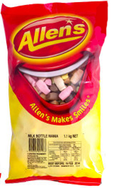 Allens Milk Bottle Mania, by Allens Confectionery,  and more Confectionery at The Professors Online Lolly Shop. (Image Number :6359)