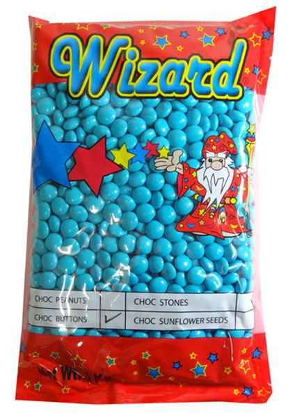 Wizard Choc Buttons - Blue, by Wizard,  and more Confectionery at The Professors Online Lolly Shop. (Image Number :8194)