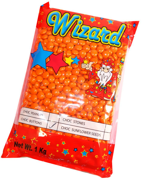 Wizard Choc Buttons - Orange, by Wizard,  and more Confectionery at The Professors Online Lolly Shop. (Image Number :6259)