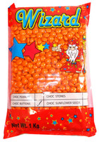 Wizard Choc Buttons - Orange, by Wizard,  and more Confectionery at The Professors Online Lolly Shop. (Image Number :8188)