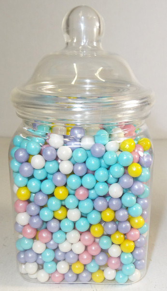 Victorian Square Clear Plastic Jar and more Partyware at The Professors Online Lolly Shop. (Image Number :6304)