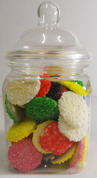 Victorian Square Clear Plastic Jar and more Partyware at The Professors Online Lolly Shop. (Image Number :6306)