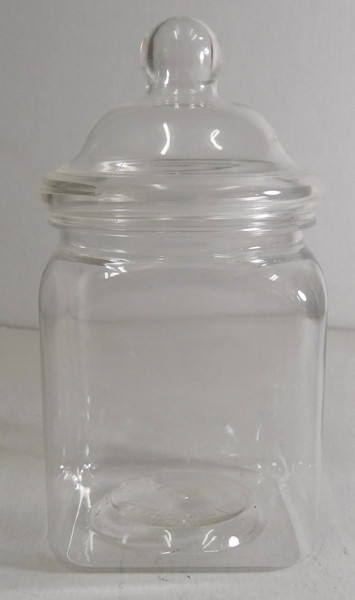Victorian Square Clear Plastic Jar and more Partyware at The Professors Online Lolly Shop. (Image Number :6310)