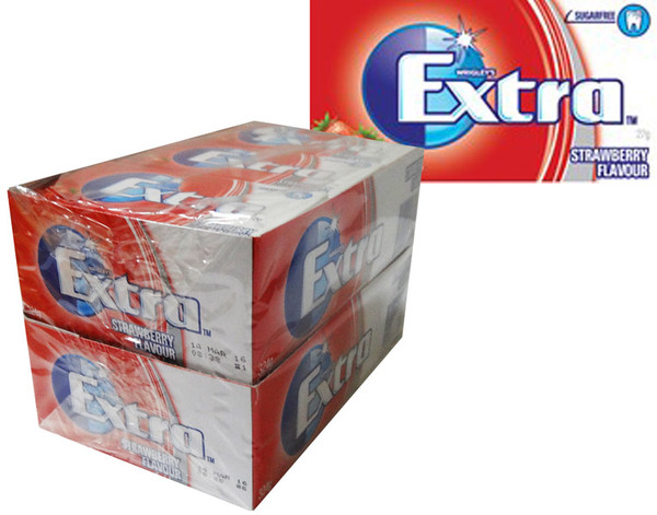 Extra Strawberry Flavour, by Wrigley,  and more Confectionery at The Professors Online Lolly Shop. (Image Number :7982)