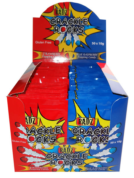 Crackle Rocks - Strawberry and Blue Raspberry, by AIT Confectionery,  and more Confectionery at The Professors Online Lolly Shop. (Image Number :6678)