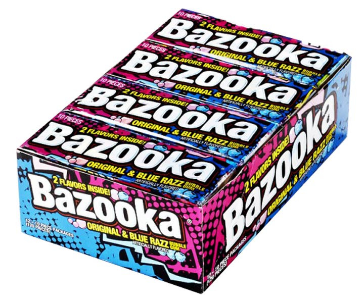 Bazooka Original and Blue Razz Bubble Gum, by Bazooka/Other,  and more Confectionery at The Professors Online Lolly Shop. (Image Number :6973)