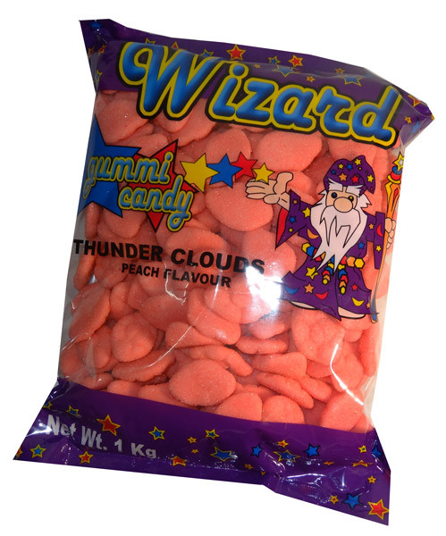 Wizard Thunder Clouds - Pink Peach, by Wizard,  and more Confectionery at The Professors Online Lolly Shop. (Image Number :7095)