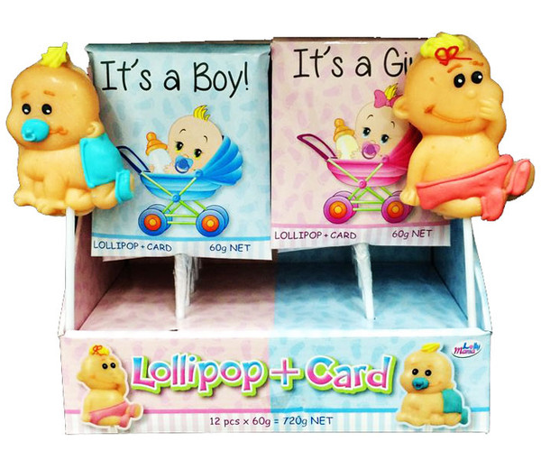 It s a Girl / Boy Lollipop + Card, by Lolly Mania/Other,  and more Confectionery at The Professors Online Lolly Shop. (Image Number :6991)