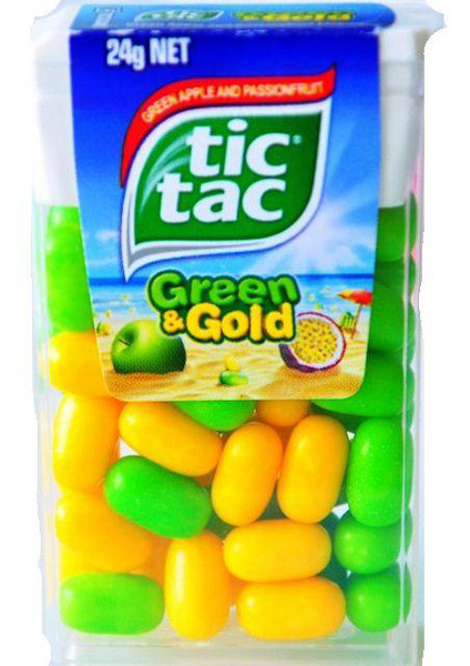 Tic Tac - Green & Gold, by Ferrero,  and more Confectionery at The Professors Online Lolly Shop. (Image Number :7050)