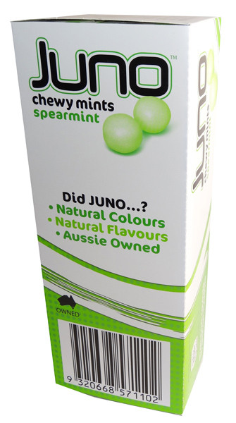 Juno Chewy Mints - Spearmint, by Ferndale Confectionery,  and more Confectionery at The Professors Online Lolly Shop. (Image Number :7139)