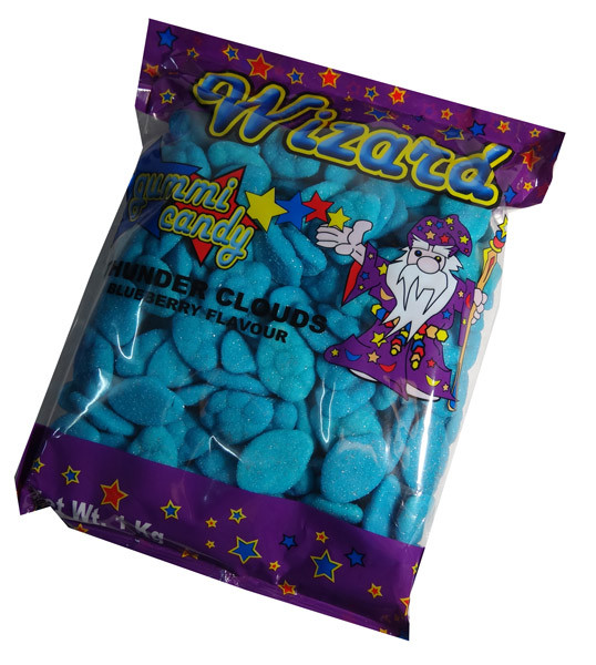 Wizard Thunder Clouds - Blue Blueberry, by Wizard,  and more Confectionery at The Professors Online Lolly Shop. (Image Number :7217)