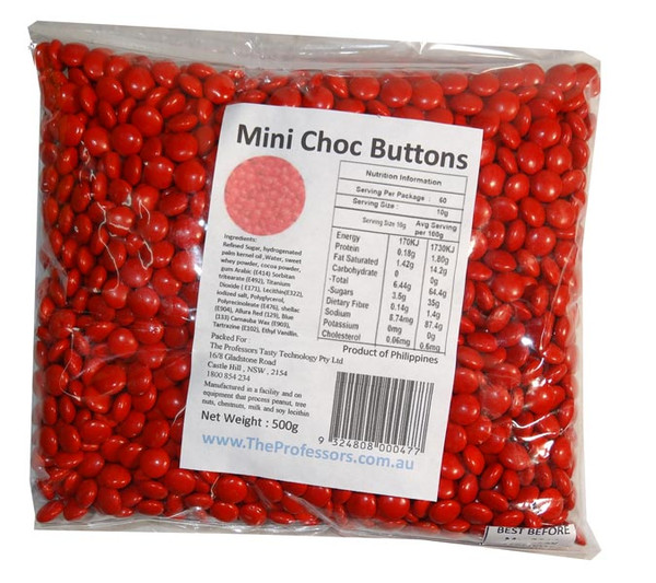 Mini Choc Buttons - Red, by Brisbane Bulk Supplies,  and more Confectionery at The Professors Online Lolly Shop. (Image Number :7337)