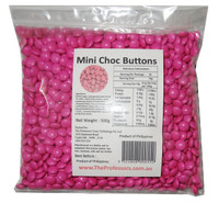 Mini Choc Buttons - Pink, by Brisbane Bulk Supplies,  and more Confectionery at The Professors Online Lolly Shop. (Image Number :7693)