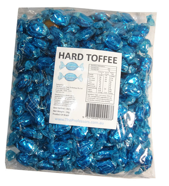 Sweet Treats Wrapped Hard Toffees - Blue - Chocolate, by Brisbane Bulk Supplies,  and more Confectionery at The Professors Online Lolly Shop. (Image Number :7341)