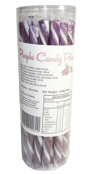 Candy Poles Jar - Purple, by Brisbane Bulk Supplies,  and more Confectionery at The Professors Online Lolly Shop. (Image Number :7326)