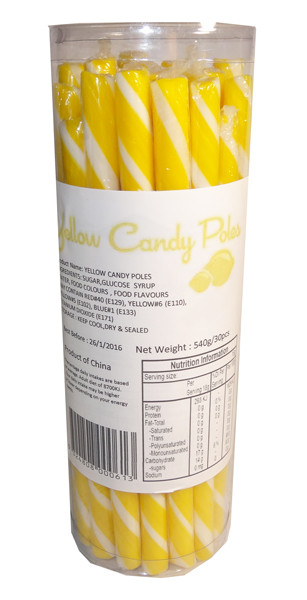 Candy Poles Jar - Yellow, by Brisbane Bulk Supplies,  and more Confectionery at The Professors Online Lolly Shop. (Image Number :7320)