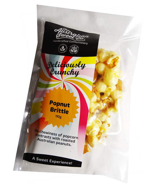 Popnut Brittle, by The Australian Sweet Company,  and more Confectionery at The Professors Online Lolly Shop. (Image Number :7442)