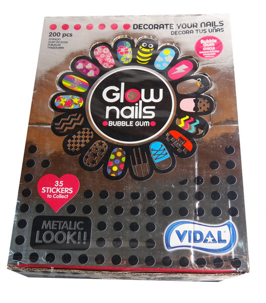 Vidal Glow Fashion Nails Bubble Gum, by vidal,  and more Confectionery at The Professors Online Lolly Shop. (Image Number :7506)