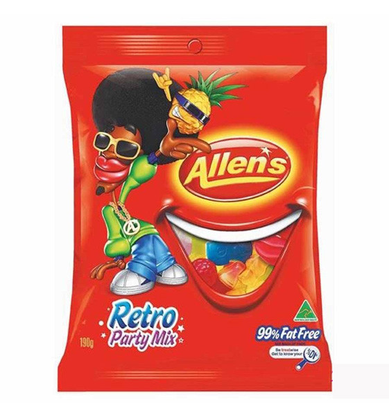 Allens Retro Party Mix, by Allens Confectionery,  and more Confectionery at The Professors Online Lolly Shop. (Image Number :7735)