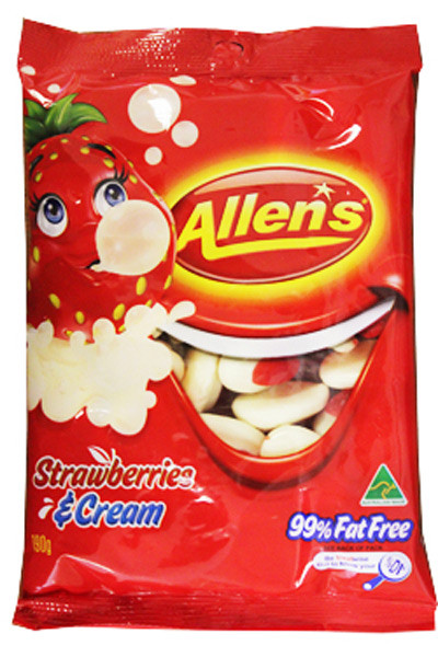 Allens Strawberries and Cream, by Allens Confectionery,  and more Confectionery at The Professors Online Lolly Shop. (Image Number :9267)