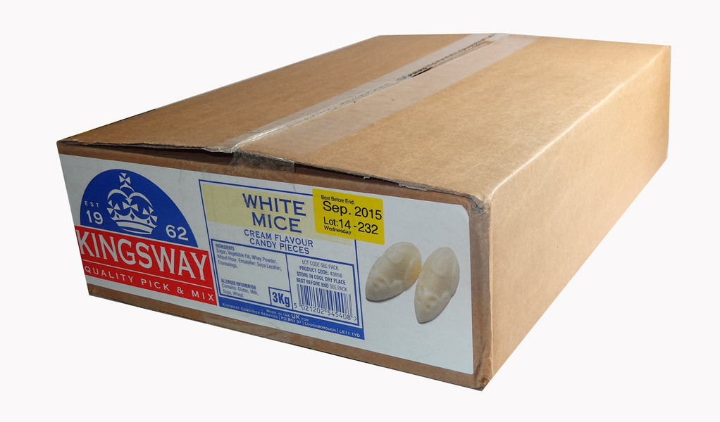Kingsway White Mice, by Kingsway,  and more Confectionery at The Professors Online Lolly Shop. (Image Number :7730)