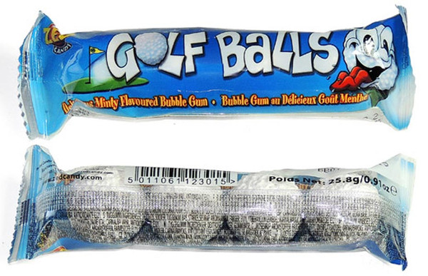 Golf Balls - Mint Bubble Gum, by Zed,  and more Confectionery at The Professors Online Lolly Shop. (Image Number :7726)