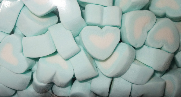Sweet Treats Heart Shaped Marshmallows - Blue and White, by Brisbane Bulk Supplies,  and more Confectionery at The Professors Online Lolly Shop. (Image Number :7830)