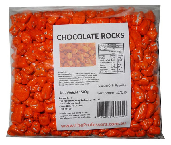 Chocolate Rocks - Orange and more Confectionery at The Professors Online Lolly Shop. (Image Number :7837)