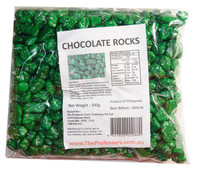 Chocolate Rocks - Green, by Brisbane Bulk Supplies,  and more Confectionery at The Professors Online Lolly Shop. (Image Number :7827)
