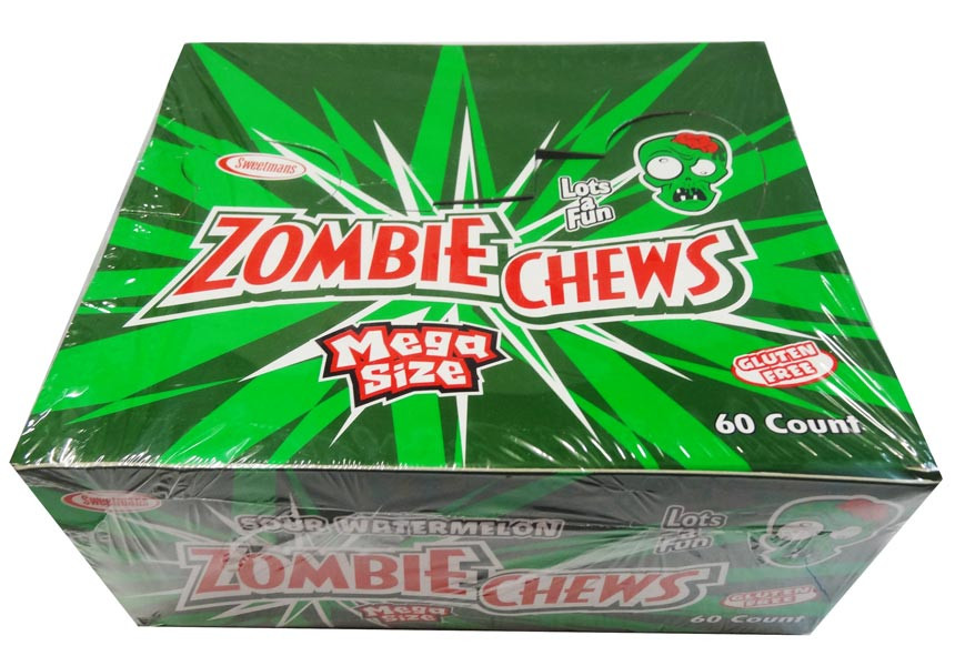 Zombie Chews - Sour Watermelon, by Sweetmans,  and more Confectionery at The Professors Online Lolly Shop. (Image Number :8337)