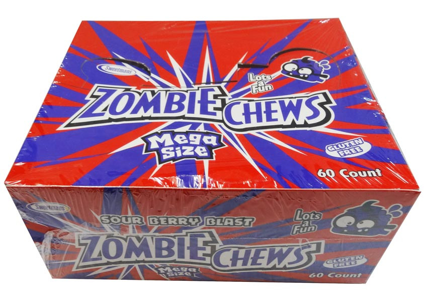 Zombie Chews - Sour Berry Blast, by Sweetmans,  and more Confectionery at The Professors Online Lolly Shop. (Image Number :8323)