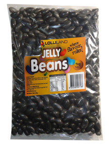 Lolliland Jelly Beans - Black, by Lolliland,  and more Confectionery at The Professors Online Lolly Shop. (Image Number :7912)
