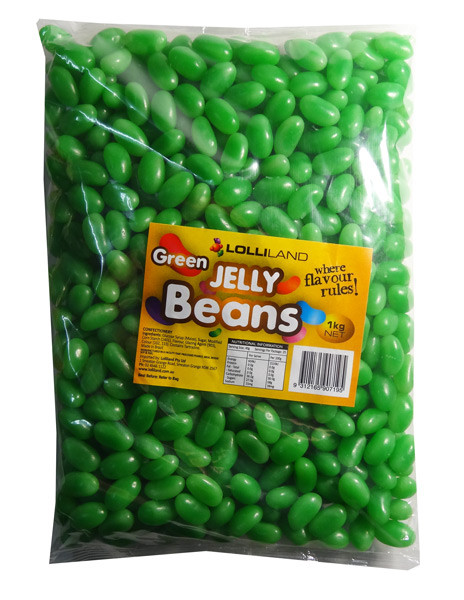 Lolliland Jelly Beans - Green, by Lolliland,  and more Confectionery at The Professors Online Lolly Shop. (Image Number :7911)