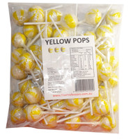 Ball Pops - Yellow, by Brisbane Bulk Supplies,  and more Confectionery at The Professors Online Lolly Shop. (Image Number :7817)
