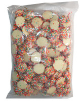 White Choc Jewels with Multi-Coloured Speckles, by Hugos Confectionery,  and more Confectionery at The Professors Online Lolly Shop. (Image Number :8165)