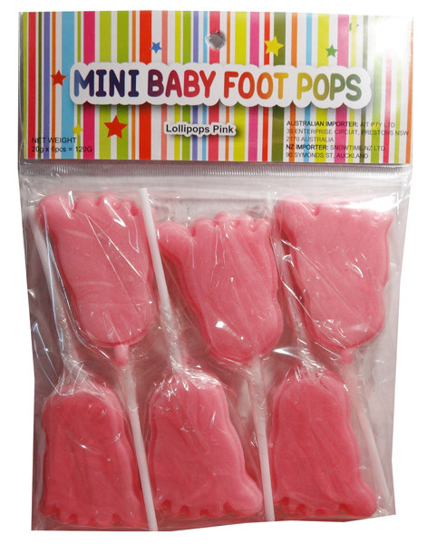 mini baby foot pops pink and other confectionery at. Black Bedroom Furniture Sets. Home Design Ideas