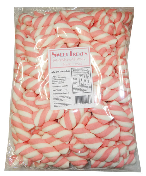 Sweet Treats Marshmallow Twists - Pink and White, by Brisbane Bulk Supplies,  and more Confectionery at The Professors Online Lolly Shop. (Image Number :8204)